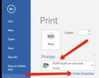 Secure Print Example from Word