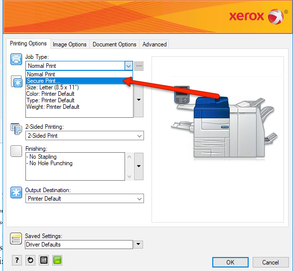 Secure Print Xerox Job Type