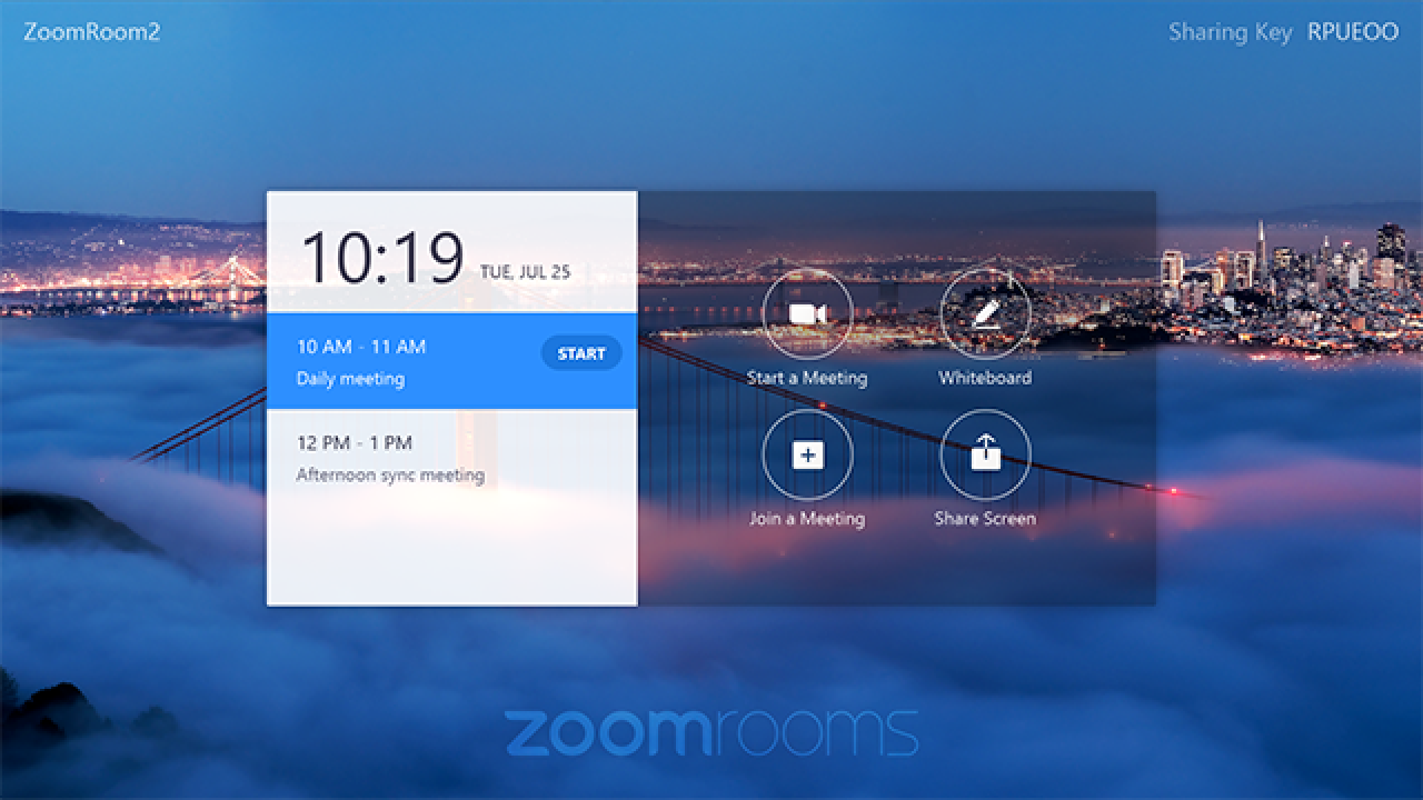 Zoom Room Touch Home Screen
